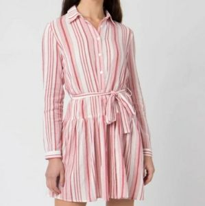 PIAROSSINI RED AND WHITE STRIPES LONG SLEEVE DRESS